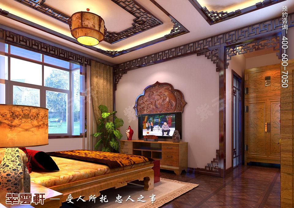 山西临汾新中式风格装修平层住宅案例,老人房中式装修效果图