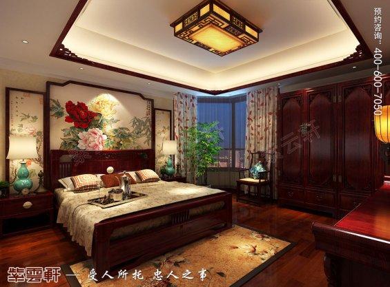 北京中式古典风格平层大宅装修效果图,主卧中式装修效果图