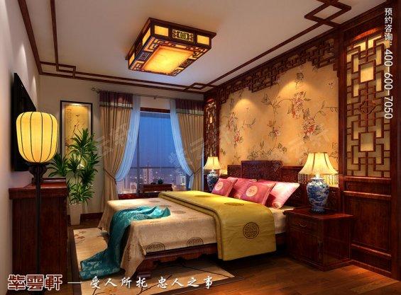 北京中式古典风格平层大宅装修效果图,次卧中式装修图