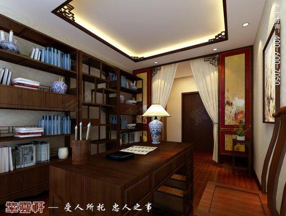 深圳平层住宅简约中式装修设计效果图,书房中式装修图