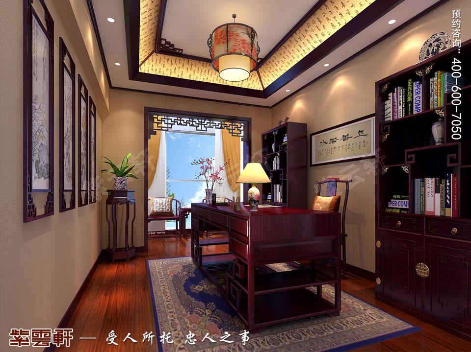 怀柔平层现代中式装修效果图,书房中式设计图