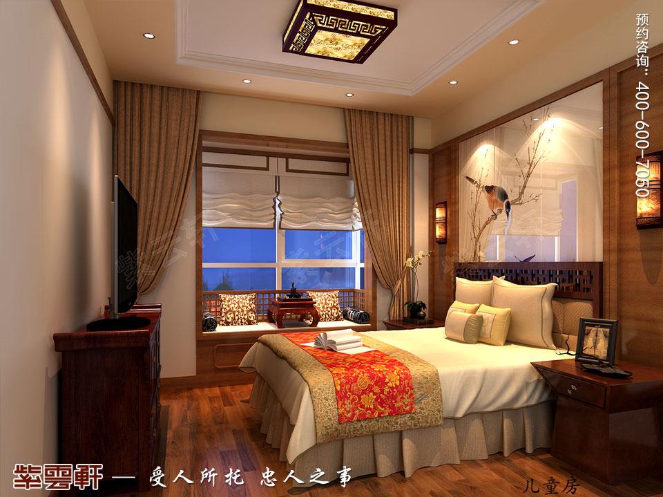 怀柔平层现代中式装修效果图,卧室中式装修效果图