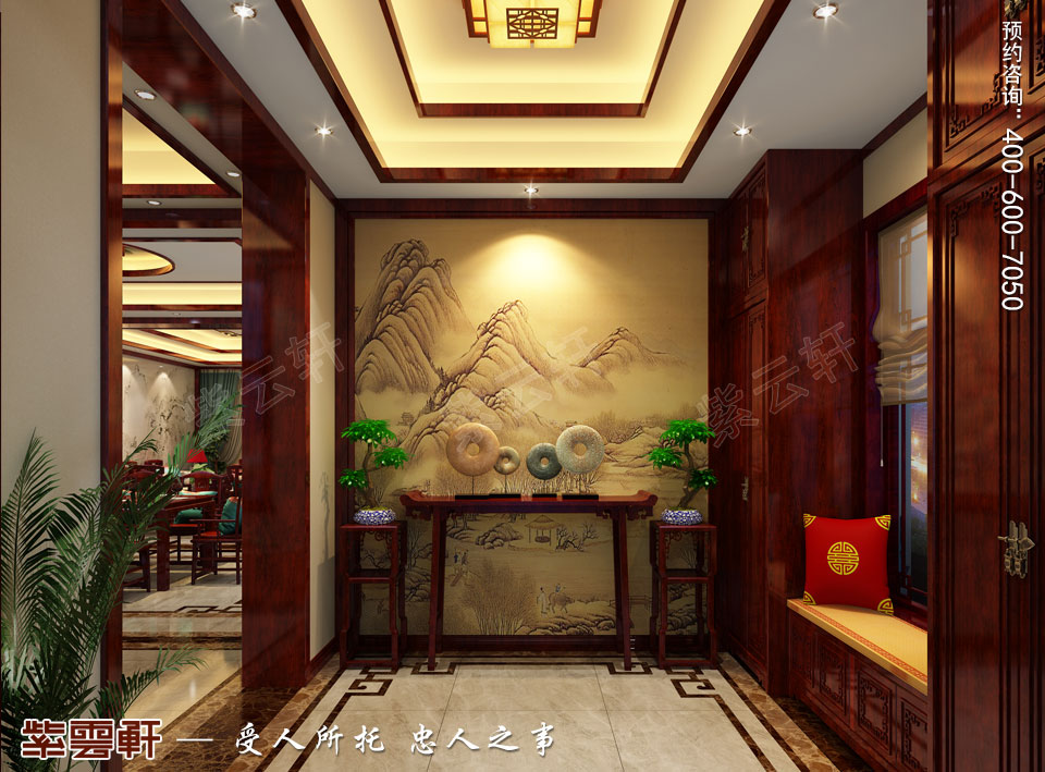西安现代简约中式装修效果图,玄关中式风格装修图