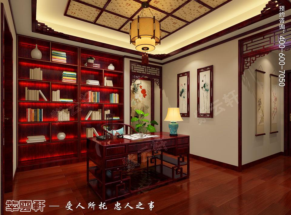 西安现代简约中式装修效果图,书房中式风格装修图