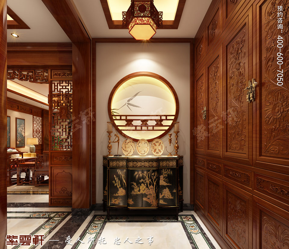 哈尔滨豪华大宅传统中式风格装修,玄关中式设计图