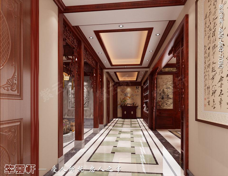 哈尔滨豪华大宅传统中式风格装修,过道中式风格装修图