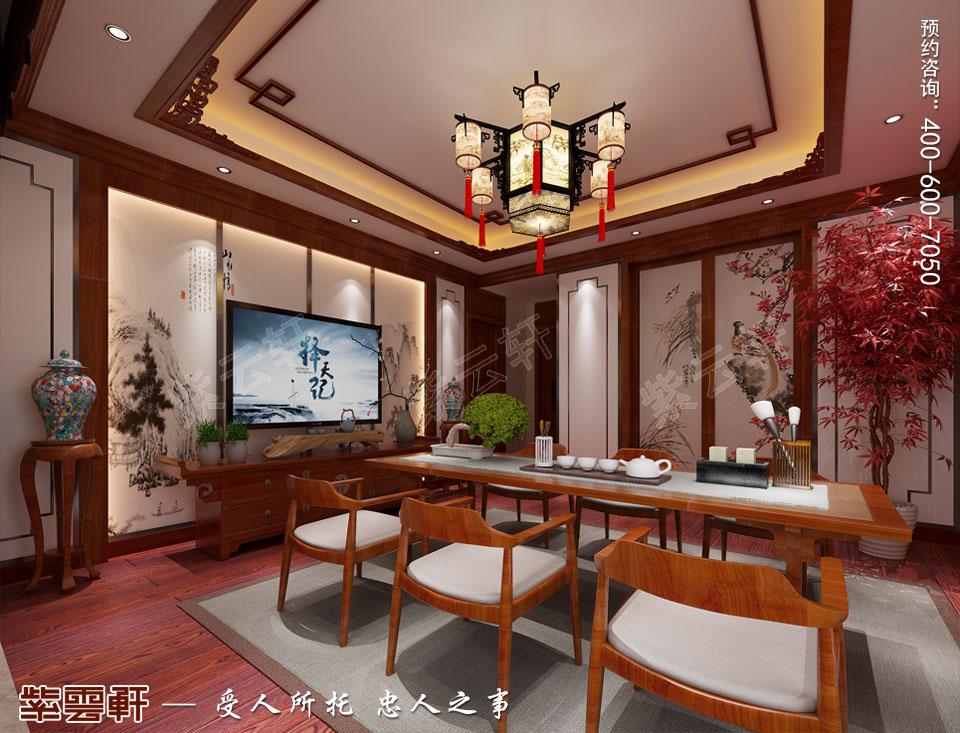 哈尔滨豪华大宅传统中式风格装修,中式茶室设计图