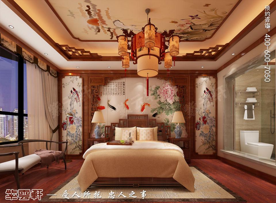 哈尔滨豪华大宅传统中式风格装修,主卧中式装修图