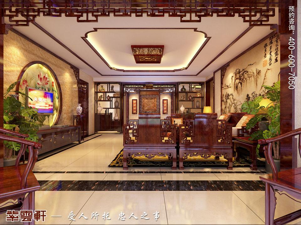 河北保定洋房现代中式装修图片,客厅中式装修效果图