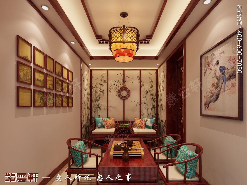 河北保定洋房现代中式装修图片,茶室中式设计