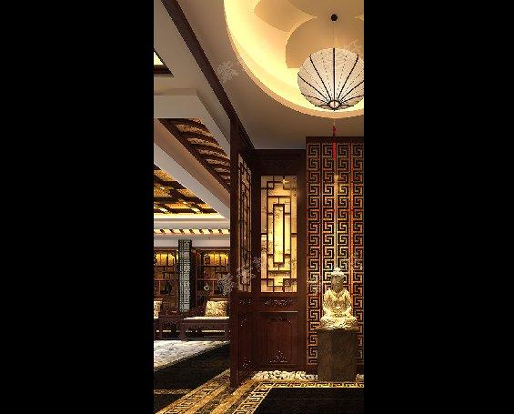 丹东大平层住宅复古中式设计装修效果图,玄关中式装修效果图