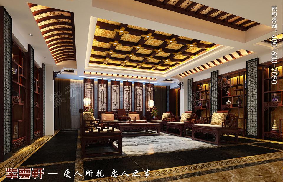丹东大平层住宅复古中式设计装修效果图,客厅中式装修效果图