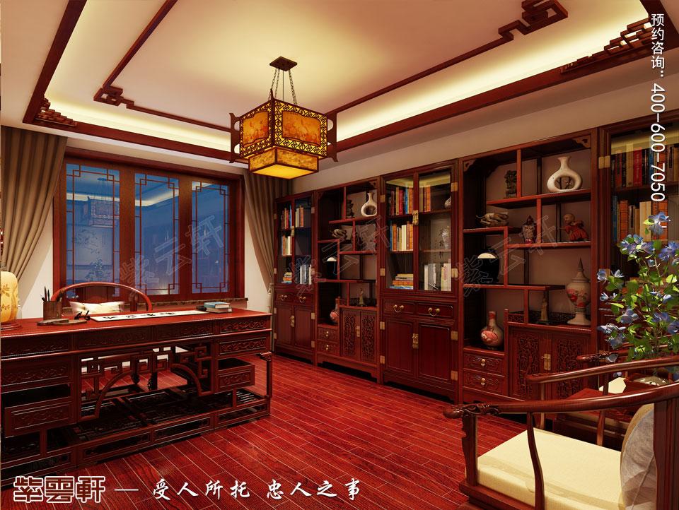 丹东大平层住宅复古中式设计装修效果图,书房中式设计图片