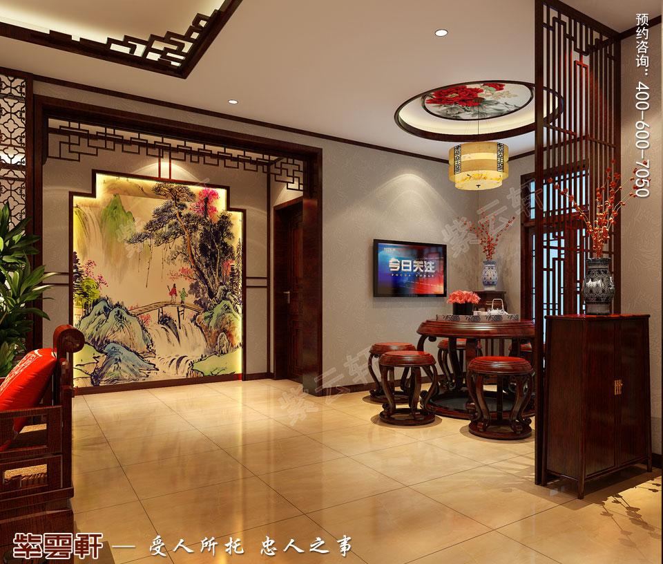 青岛平层大宅简约古典中式风格装修效果图,门厅中式装修