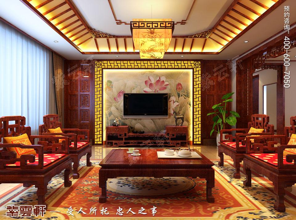 青岛平层大宅简约古典中式风格装修效果图,客厅中式装修