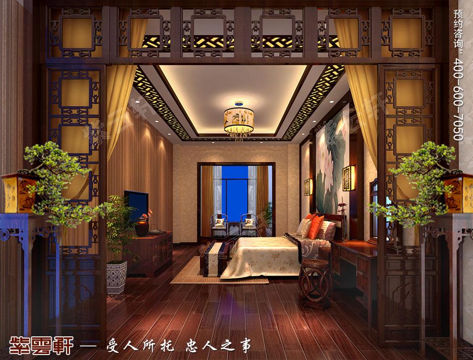 青岛平层大宅简约古典中式风格装修效果图,主卧中式装修