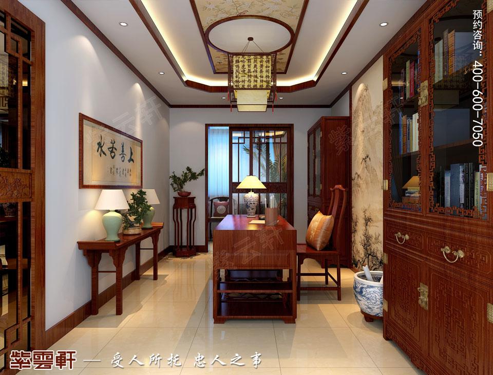 青岛平层大宅简约古典中式风格装修效果图,书房中式装修