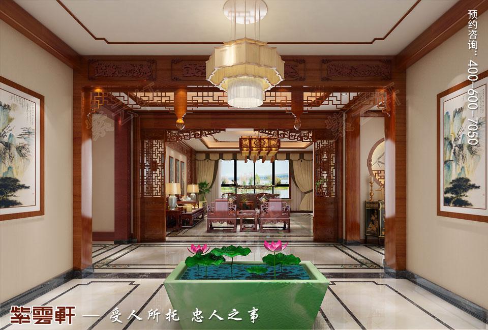 长春豪宅简约古典中式风格装修案例,过厅中式装修