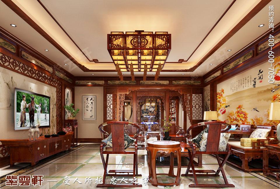 长春豪宅简约古典中式风格装修案例,客厅中式装修