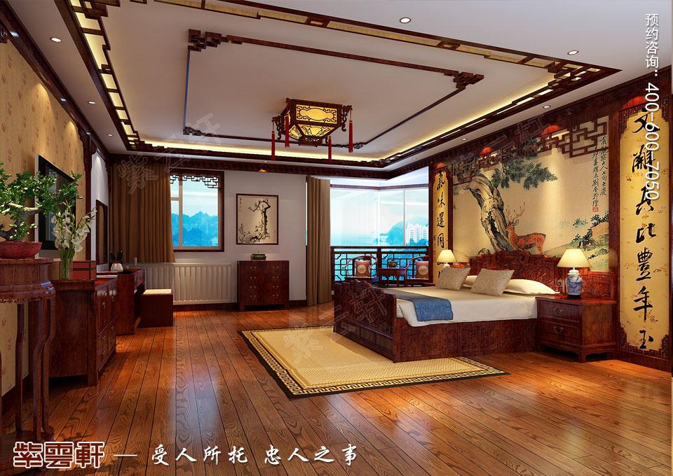 哈尔滨平层房屋中式古典装修效果图,主卧中式装修效果图