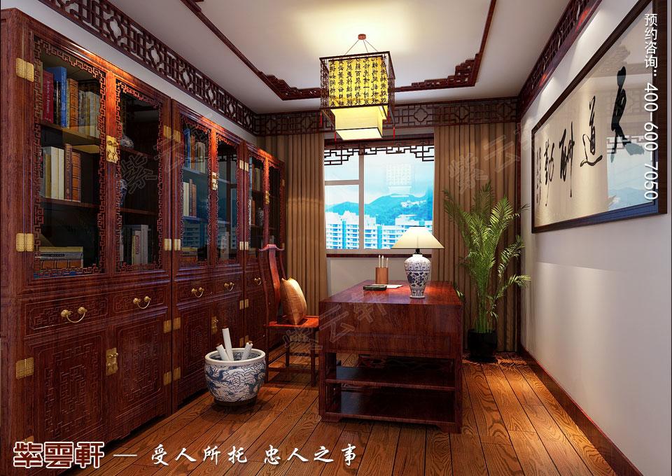 哈尔滨平层房屋中式古典装修效果图,书房中式装修