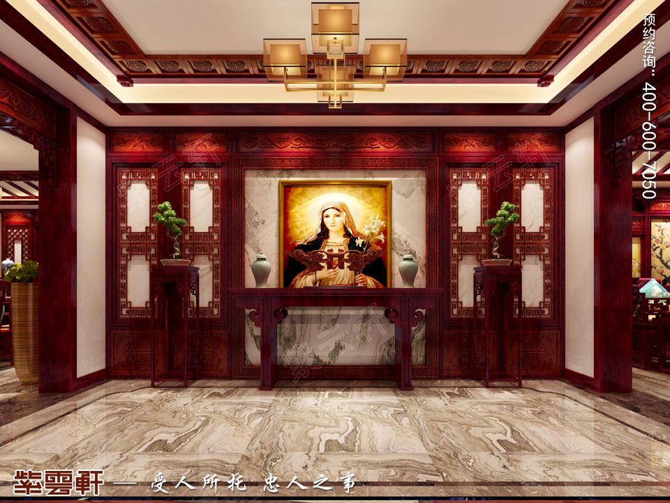 石家庄大平层简约古典中式风格装修案例,中式玄关装修