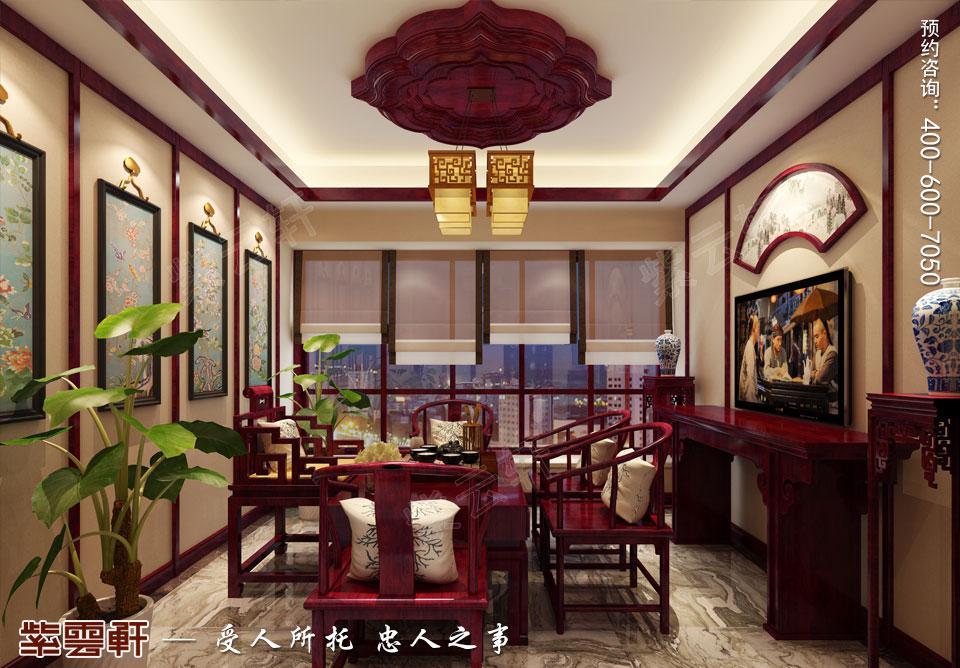 石家庄大平层简约古典中式风格装修案例,中式茶室设计