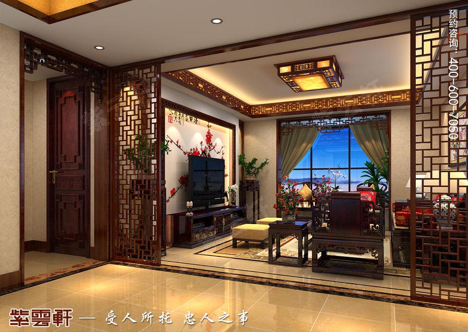 辽宁大连高层大宅复古中式风格装饰,客厅中式装修效果图