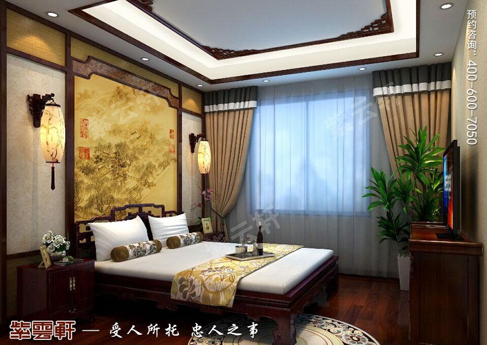 辽宁大连高层大宅复古中式风格装饰,主卧中式装修效果图