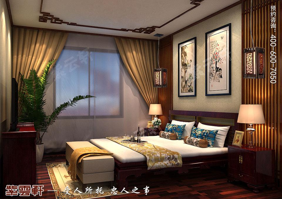 辽宁大连高层大宅复古中式风格装饰,次卧中式装修效果图