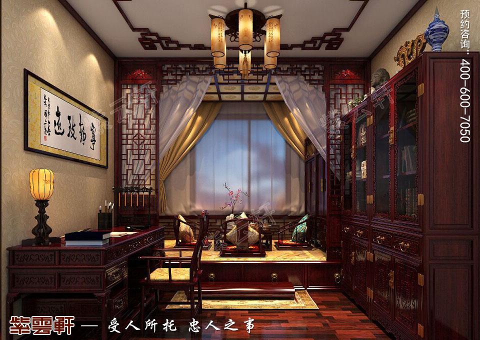 辽宁大连高层大宅复古中式风格装饰,书房中式装修