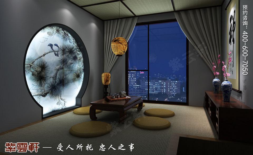 辽宁大连高层大宅复古中式风格装饰,茶室中式装修效果图