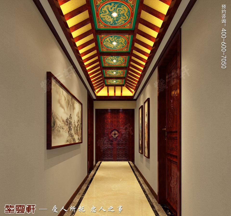 中式宫廷风设计平层豪宅装修效果图,过道中式装修图