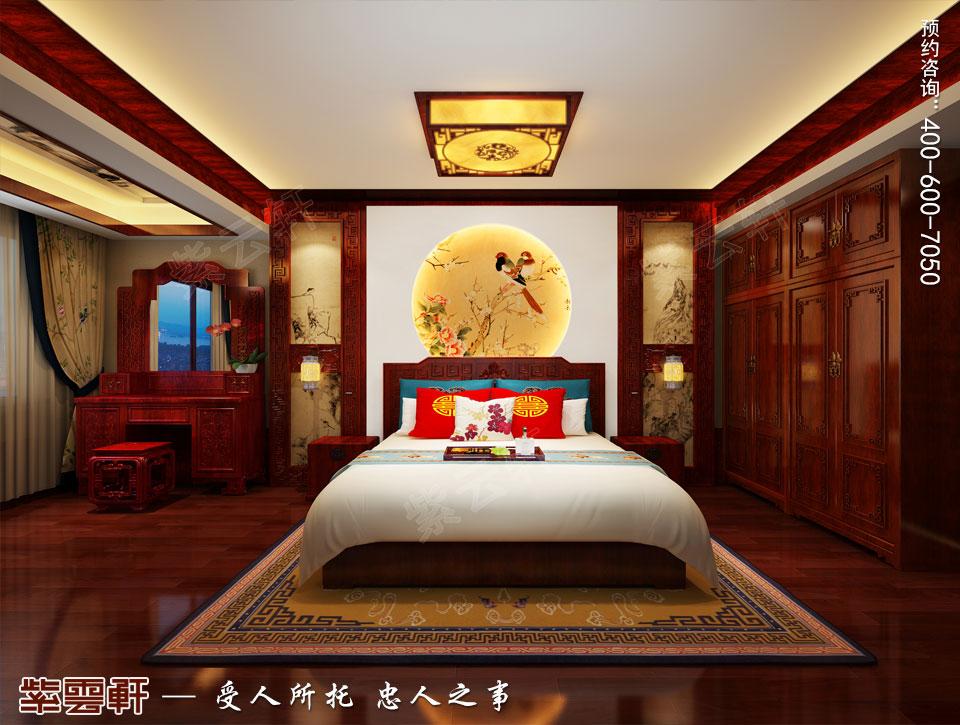 中式宫廷风设计平层豪宅装修效果图,主卧中式装修