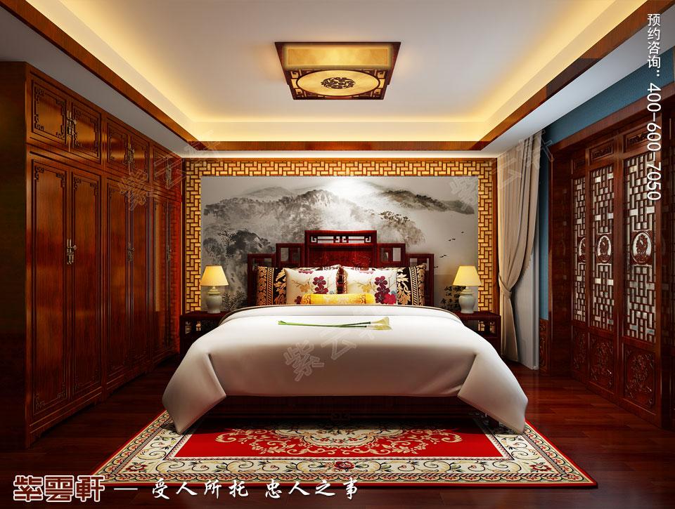 中式宫廷风设计平层豪宅装修效果图,老人房中式装修