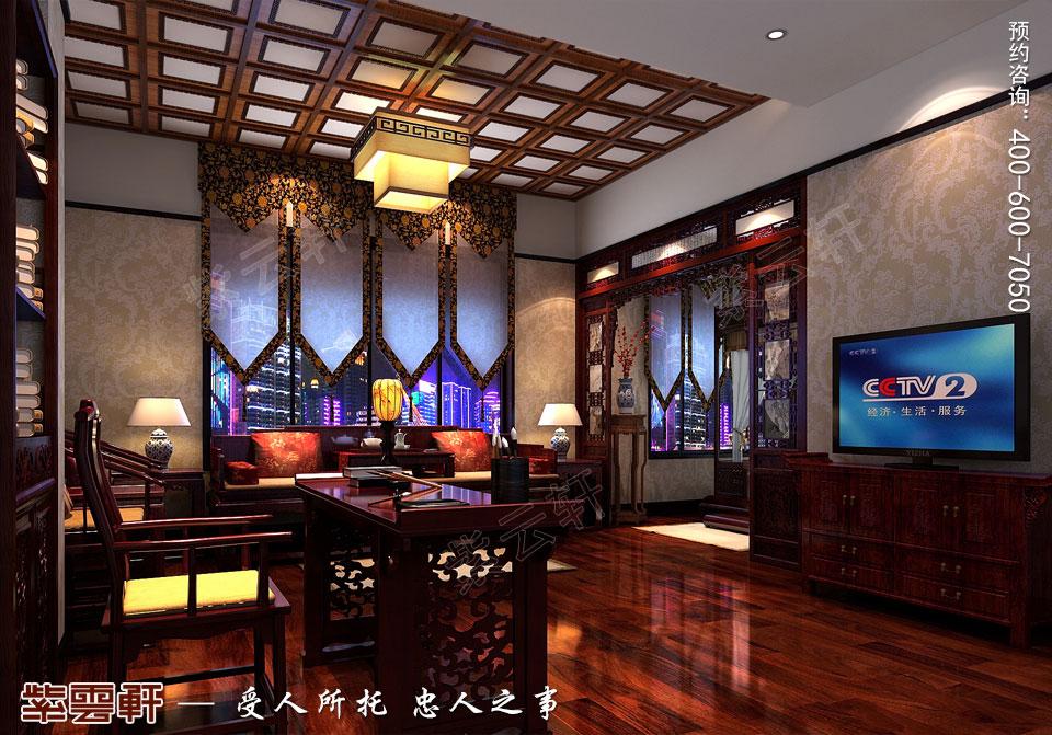 中式宫廷风设计平层豪宅装修效果图,书房中式装修效果图