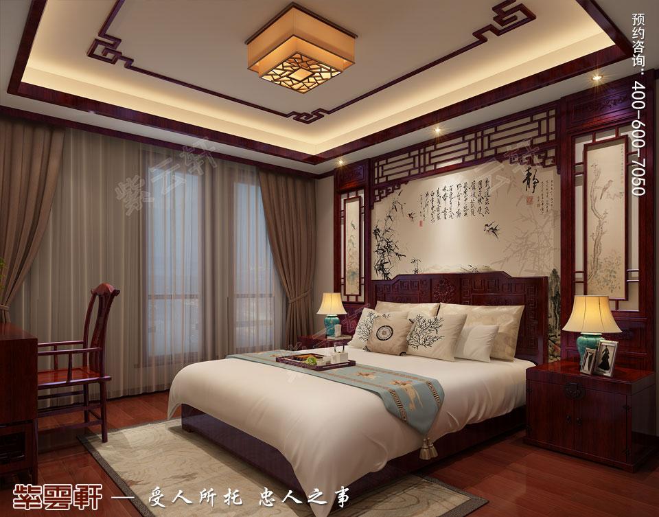 中式宫廷风设计平层豪宅装修效果图,客卧中式装修效果图