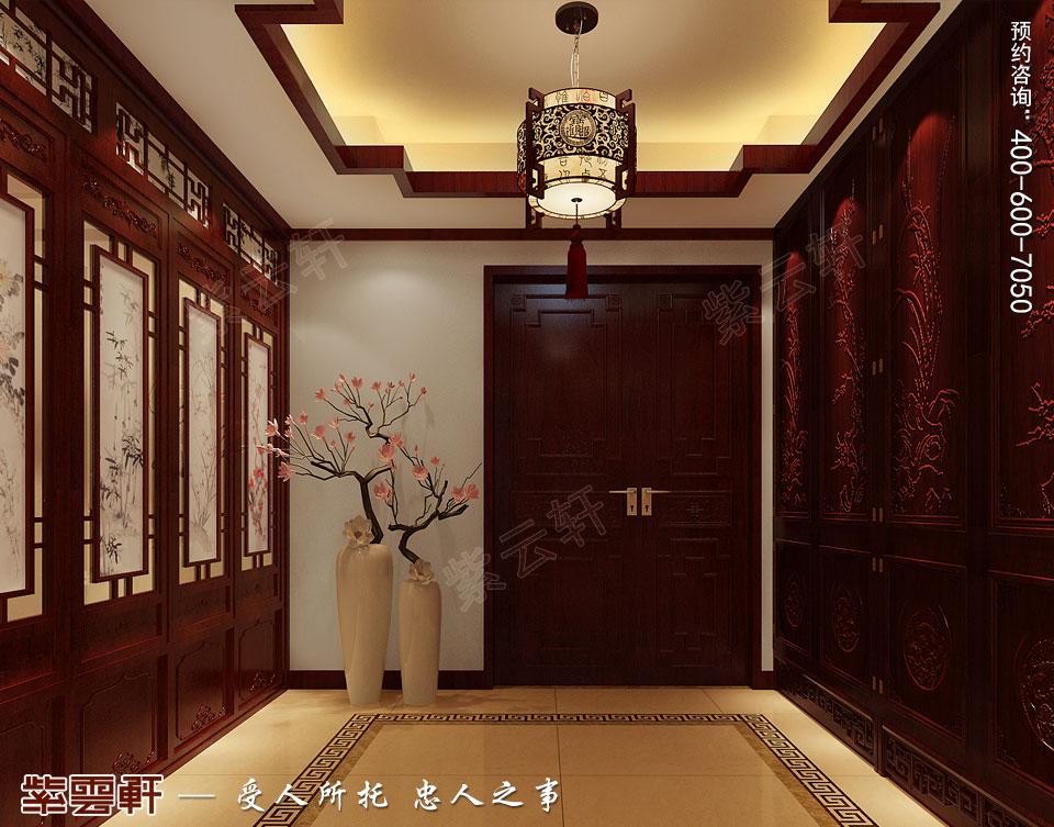 长沙湘江平层大宅复古中式装修效果图案例,中式玄关装修