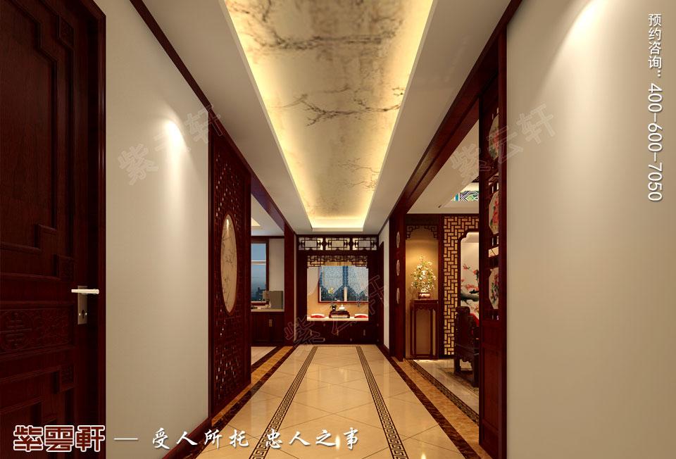 长沙湘江平层大宅复古中式装修效果图案例,过道中式装修