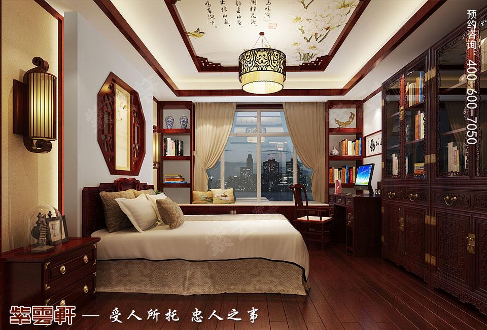 长沙湘江平层大宅复古中式装修效果图案例,男孩房中式装修
