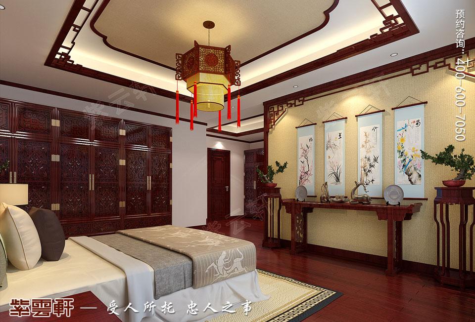 长沙湘江平层大宅复古中式装修效果图案例,主卧中式装修效果图
