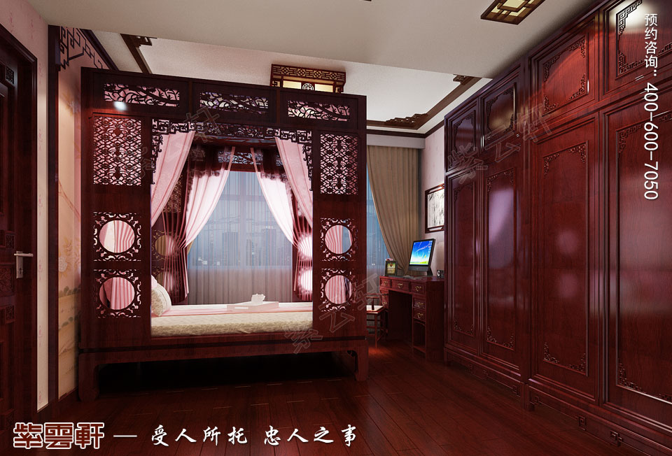 长沙湘江平层大宅复古中式装修效果图案例,女儿房中式装修