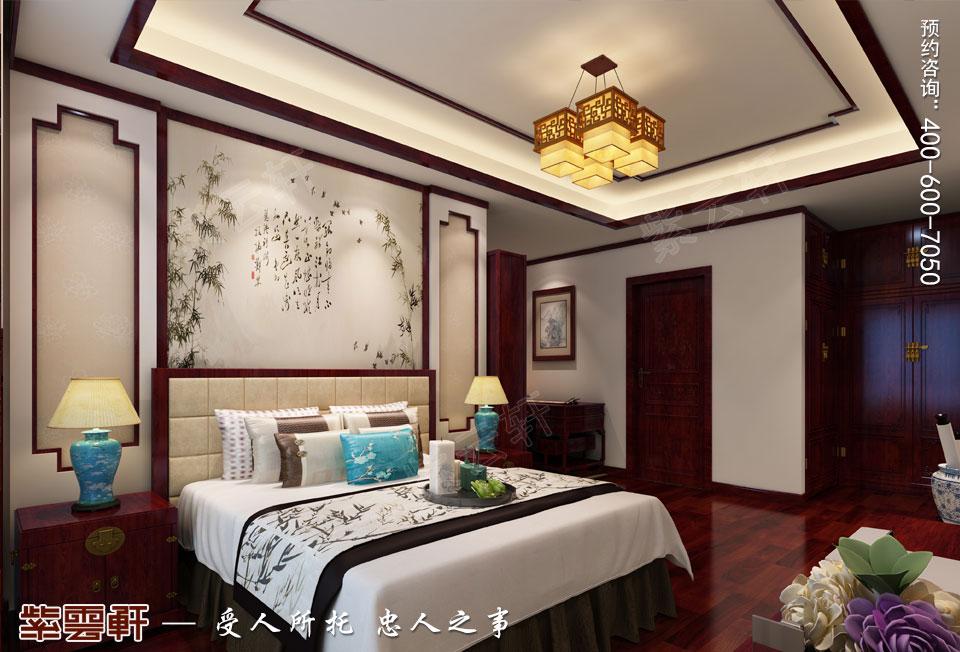 长沙湘江平层大宅复古中式装修效果图案例,客房中式装修