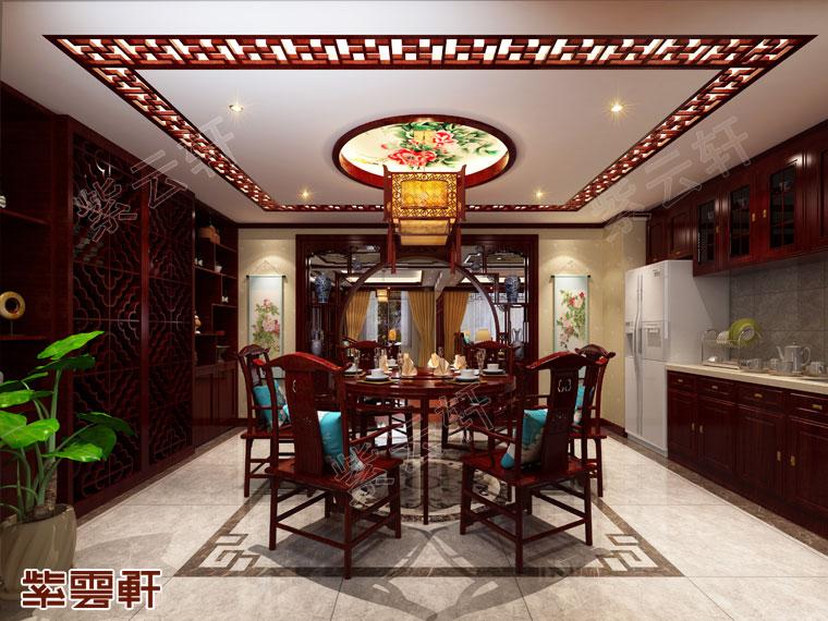 山西长治大宅仿古中式装修风格,餐厅中式装修设计