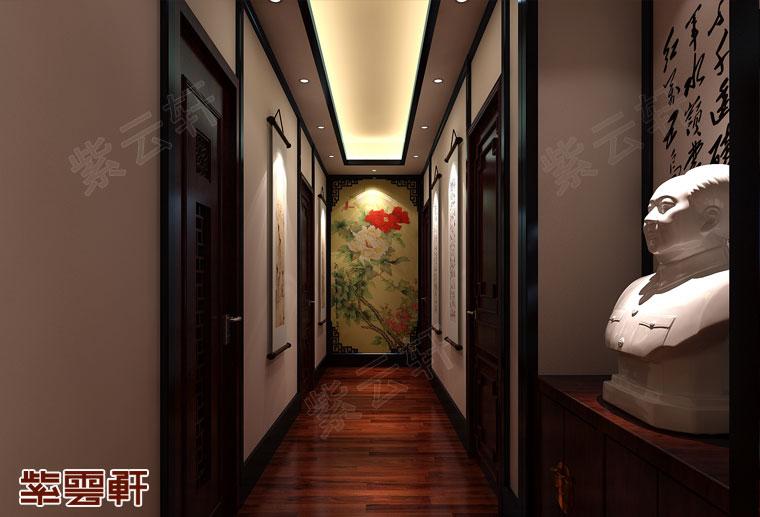 江苏南京新中式装修风格设计,走廊中式装修