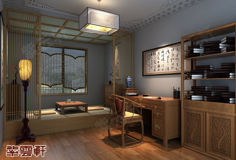 江苏南京新中式装修风格设计,茶室中式装修