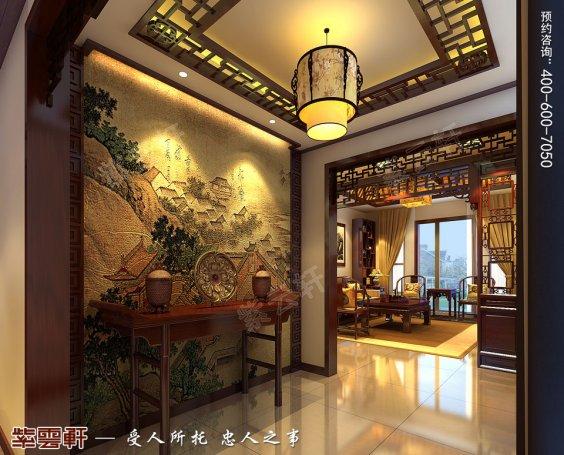 北京洋房顶楼设计古典中式装修效果图,门厅中式装修