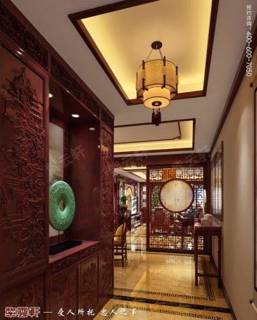 山东枣庄滕州大平层住宅古典中式装修效果图,门厅中式装修图