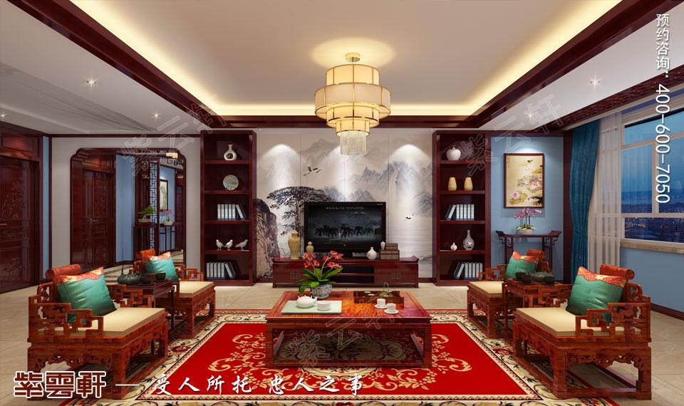 山西平层大宅现代中式风格装修效果图欣赏,客厅中式设计图