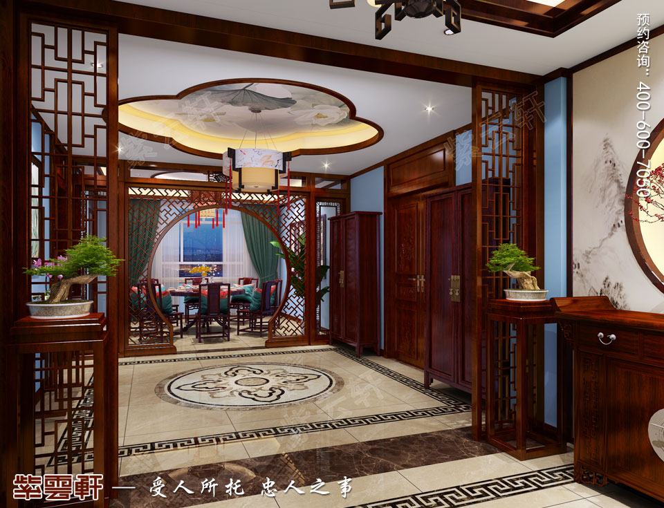 山西平层大宅现代中式风格装修效果图欣赏,餐厅中式装修效果图